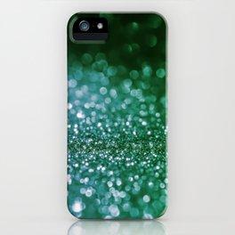 Aqua Glitter effect- Sparkling print in green and blue iPhone Case