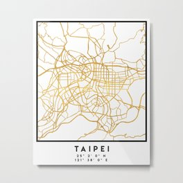 TAIPEI TAIWAN CITY STREET MAP ART Metal Print