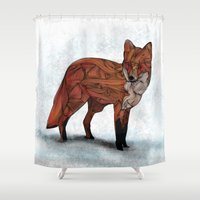 kurt rahn Shower Curtains featuring Red Fox by Ben Geiger