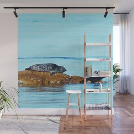 Seal pup waves to mom Wall Mural