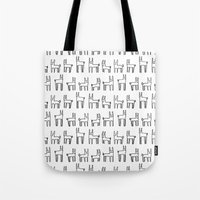 bunnies Tote Bags featuring bunnies by Yes Menu