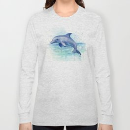 Dolphin Watercolor Sea Creature Animal Long Sleeve T-shirt