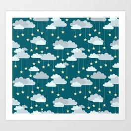 Clouds & Stars Night Sky Pattern Art Print
