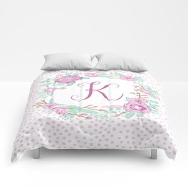 Monogram K - cute girls purple florals flower wreath, lilac florals, baby girl, baby blanket Comforters