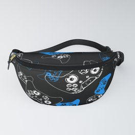 Video Game Blue on Black Fanny Pack