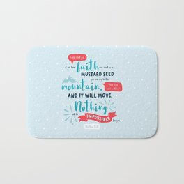 """Nothing Will Be Impossible"" Hand-Lettered Bible Verse Bath Mat"