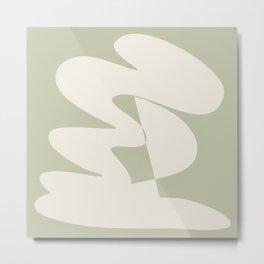 Minimalist Modern Abstract Expressionism in Sage Metal Print