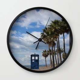 Tardis on the beach Wall Clock