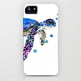 Sea Turtle, blue purple illustration children room cute turtle artwork iPhone Case