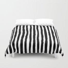 Black and White Vertical Stripes Duvet Cover