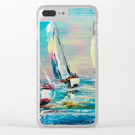 YACHTS ON THE WIND Clear iPhone Case
