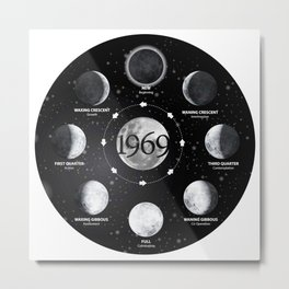 Moon Phases 50th Anniversary Apollo 11 1969 Moon Landing Tees Metal Print