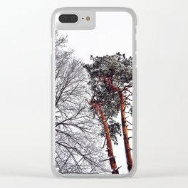 Snow-Kissed Tree Tops in Southern Maine Clear iPhone Case