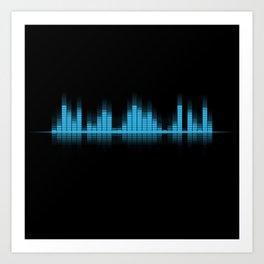 Cool Blue Graphic Equalizer Music on black Art Print