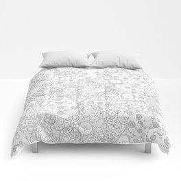 Clockwork B&W / Cogs and clockwork parts lineart pattern Comforters