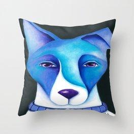 Blue Dog original artwork by Deb Harvey Throw Pillow