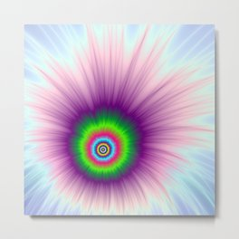Explosion in Green Purple and Blue Metal Print