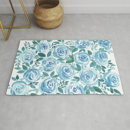 Pale blue roses . Watercolor . Rug