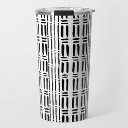 Black white hand painted watercolor brushstrokes pattern Travel Mug