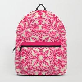 Hot Pink & Soft Cream Folk Art Pattern Backpack
