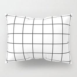 Modern Windowpane White Line Minimal Grid Home Decor Pillow Sham
