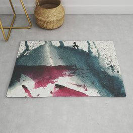 Disrupt: a minimal, abstract mixed media piece with bold strokes of magenta on blue Rug