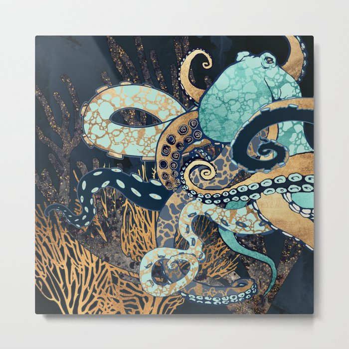 Metallic Octopus II Metal Print