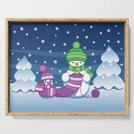 Crafty Snowman Knitting Scarf Serving Tray