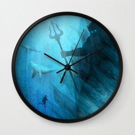 Scuba Diver meets Poseidon  Wall Clock