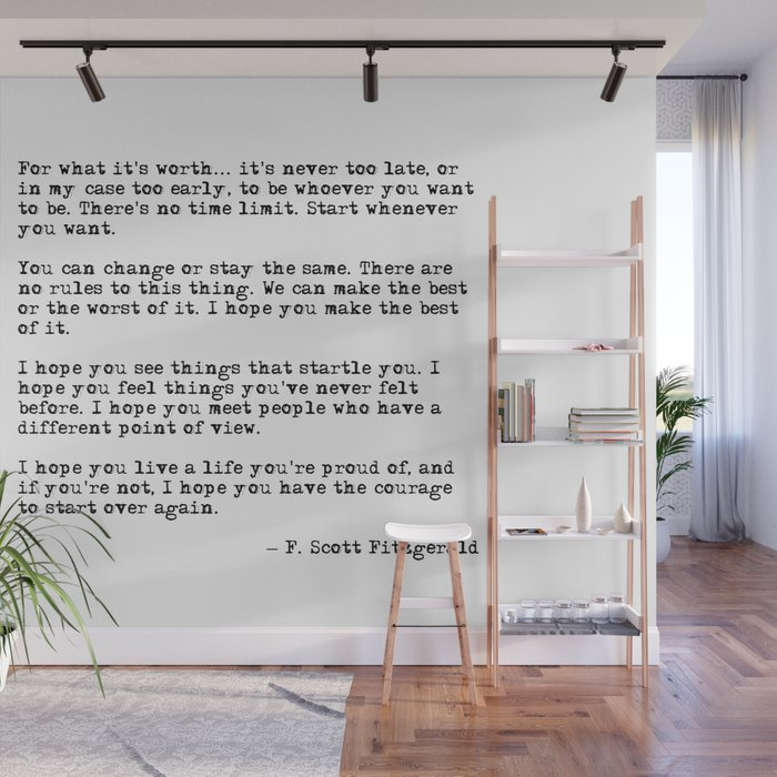 for what its worth f scott fitzgerald quote wall mural