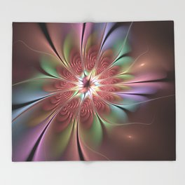 Abstract Fantasy Flower, Fractal Art Throw Blanket