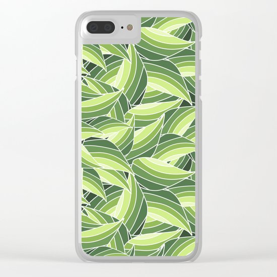 GREENERY LEAVES W  (abstract flowers nature) Clear iPhone Case