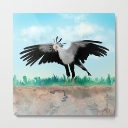 The Secretary Bird and the Snake - African Wildlife Creatures Metal Print