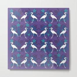 Purple Heron Sillhouette Pattern Metal Print
