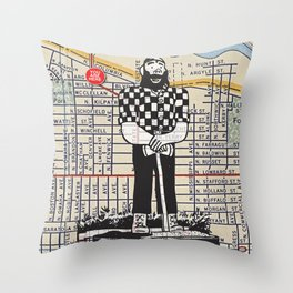 Paul Bunyan, North Denver at Interstate Avenue, You Are Here, Portland. Throw Pillow