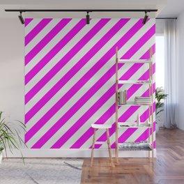 Diagonal Stripes (Magenta & White Pattern) Wall Mural