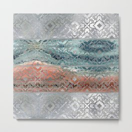 Silver glitter pattern on mother of pearl and jasper Metal Print