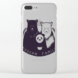 Modern Bear Family (Yellow) Clear iPhone Case