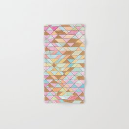 Triangle Pattern No. 25 Gold Pink Turqouise Hand & Bath Towel
