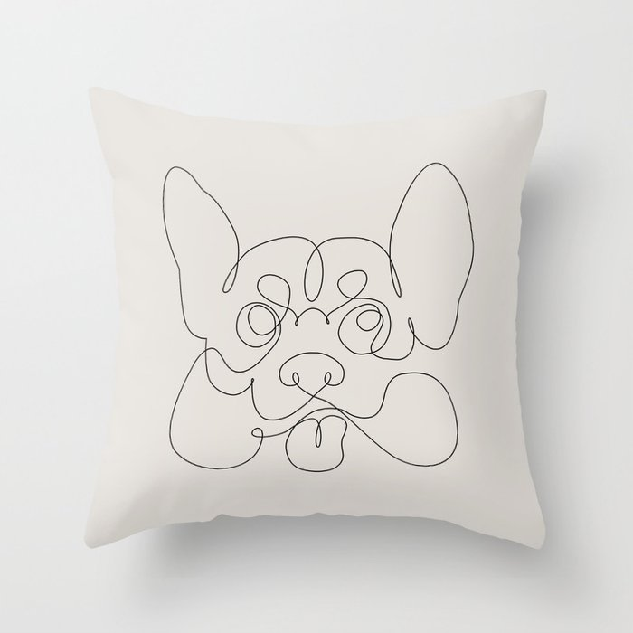 One Line Corgi Throw Pillow