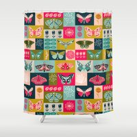 vegetarian Shower Curtains featuring Lepidoptery tiles by Andrea Lauren  by Andrea Lauren Design