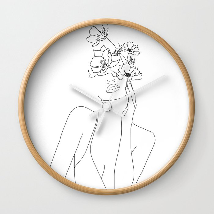 Minimal Line Art Woman with Flowers Wall Clock