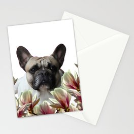 Mops between Magnolia Flower Blossoms #society6 Stationery Cards