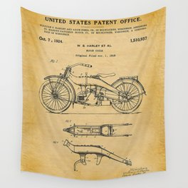 1919 Paper Vertical Motorcycle Patent Blueprint Wall Tapestry