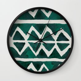 Teal Triangles Wall Clock
