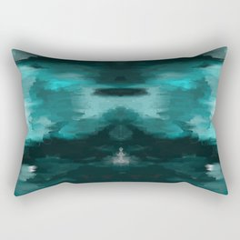 Ocean Water - an Aqua Blue Abstract painting with White Rectangular Pillow