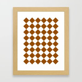 Large Diamonds - White and Brown Framed Art Print