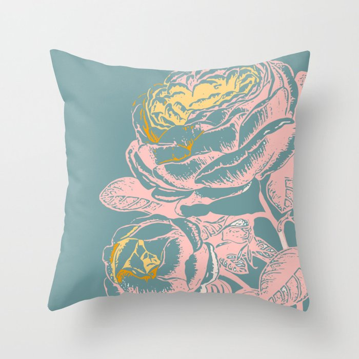 Pretty Botanical Vintage Flowers Throw Pillow
