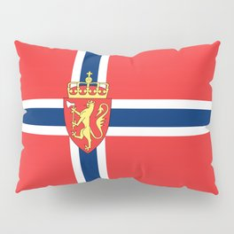 Flag of Norway Scandinavian Cross and Coat of Arms Pillow Sham