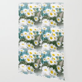 Daisies flowers in painting style 8 Wallpaper